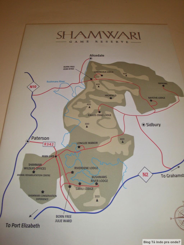 mapa da Shamwari Game Reserve