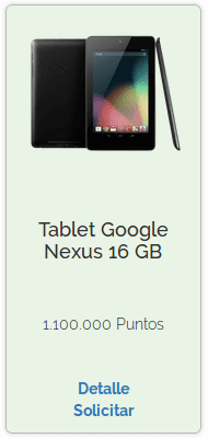 Premio de Tablet Google Nexus 16 GB