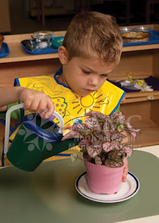 most challenging montessori student young boy watering plant