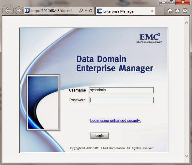 Login a Data Domain Enterprise Manager.