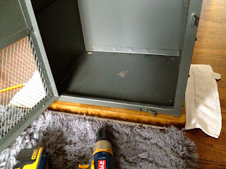 attaching butcher block top to metal nightstand