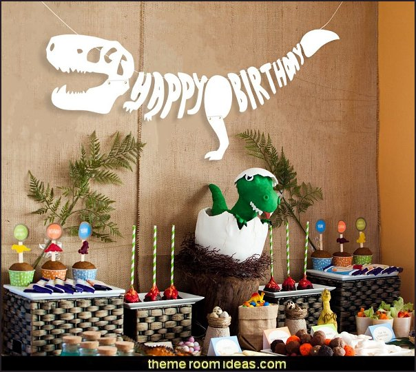 Dinosaur Dino Happy Birthday Banner Fossil Jurassic T-REX Garland -- Party Decoration Supplies