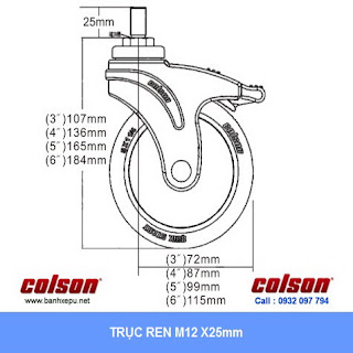 Bảng vẽ kích thước tấm lắp bánh xe đẩy cao su cọc vít chịu tải trọng 100kg | STO-5854-448