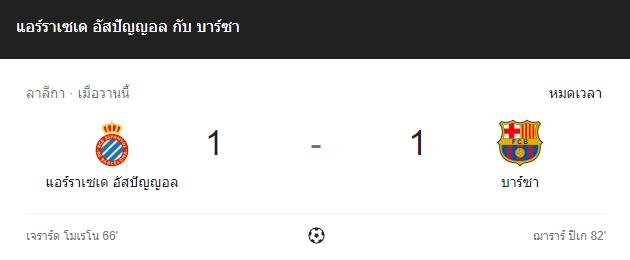 แทงบอล ไฮไลท์ เหตุการณ์การแข่งขันระหว่าง เอสปัญญ่อล vs บาร์เซโลน่า