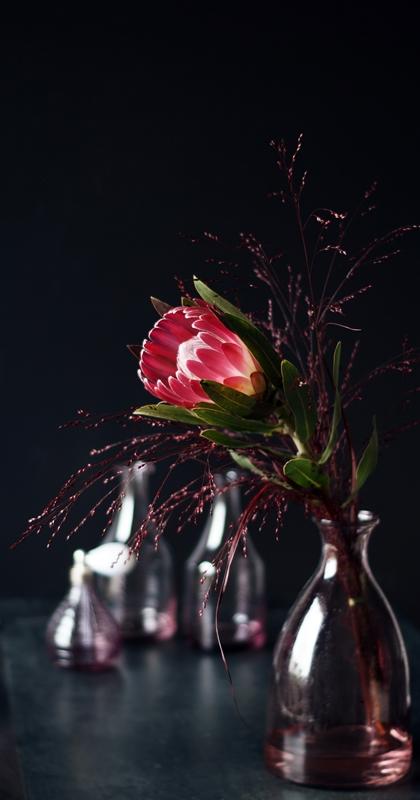 Blog + Fotografie by it's me! - Protea, rote Gräser und eine rosa Glasvase