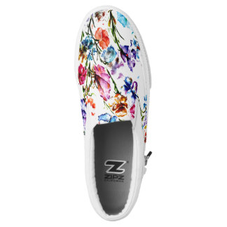 Personalized Printed Shoes for Mom - Butterflies and Blooms Slip-On Sneakers