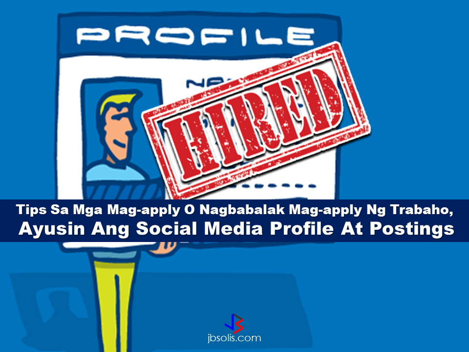 "Do you know that your social media profile play a great role in finding your ideal job? Anything you write in your profile can affect your job application so you better know how to do it right.  To the fresh graduates seeking employment, employers friendly advice would be to fix their online profiles to serve as a plus point for the companies that evaluate them online. You must be cautious about what you are posting because believe it or not, there are companies who checks your online profile.  In a social media platform Linkedin, for example, you can build your professional network and they can recommend you in a certain group or employers. In a n estimate, there are 4 million Filipinos with Linkedin account wherein around 20,000 companies are active. Having an account might land you on your dream job.   The most in-demand jobs online are on the field of sales, software developer, customer service specialist, marketing specialist, administration manager, IT support specialist, HR professional, IT consultant and accountant. Having an impressive online profile is as good as a resume properly presented. That is very important if you want to get hired.  Meanwhile, University of the Philippines Online Journalism Expert Danilo Arao said that online jobs are not the best options because it could not be availed of the majority of the job seekers in the country and there are no demand for agriculture. It is only 4 million professionals who have social media accounts against 42.74 million work force. Arao also appeal to the job seekers to consider the needs of their country in finding their respective careers and do not only think about their self or their family.  Read More:    The effectivity of the Nationwide Smoking Ban or  E.O. 26 (Providing for the Establishment of Smoke-free Environment in Public and Enclosed Places) started today, July 23, but only a few seems to be aware of it.  President Rodrigo Duterte signed the Executive Order 26 with the citizens health in mind. Presidential Spokesperson Ernesto Abella said the executive order is a milestone where the government prioritize public health protection.    The smoking ban includes smoking in places such as  schools, universities and colleges, playgrounds, restaurants and food preparation areas, basketball courts, stairwells, health centers, clinics, public and private hospitals, hotels, malls, elevators, taxis, buses, public utility jeepneys, ships, tricycles, trains, airplanes, and  gas stations which are prone to combustion. The Department of Health  urges all the establishments to post ""no smoking"" signs in compliance with the new executive order. They also appeal to the public to report any violation against the nationwide ban on smoking in public places.   Read More:          ©2017 THOUGHTSKOTO www.jbsolis.com SEARCH JBSOLIS, TYPE KEYWORDS and TITLE OF ARTICLE at the box below Smoking is only allowed in designated smoking areas to be provided by the owner of the establishment. Smoking in private vehicles parked in public areas is also prohibited. What Do You Need To know About The Nationwide Smoking Ban Violators will be fined P500 to P10,000, depending on their number of offenses, while owners of establishments caught violating the EO will face a fine of P5,000 or imprisonment of not more than 30 days. The Department of Health  urges all the establishments to post ""no smoking"" signs in compliance with the new executive order. They also appeal to the public to report any violation against the nationwide ban on smoking in public places.      ©2017 THOUGHTSKOTO"