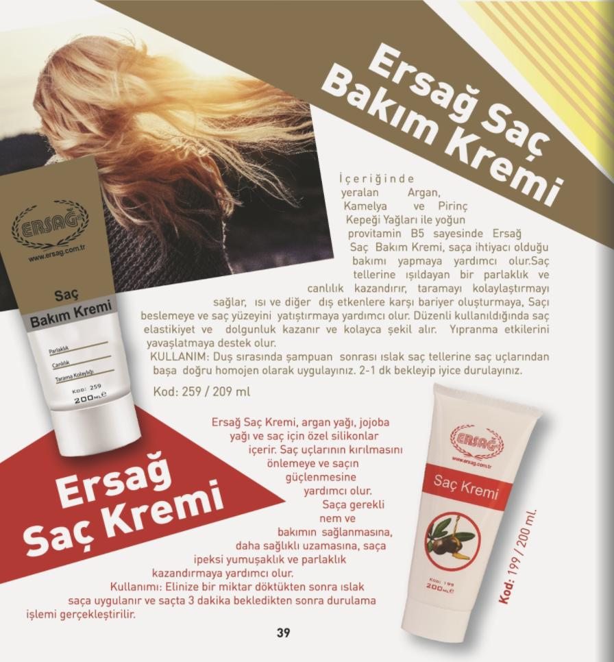 Ersağ Saç Bakım Kremi 200 ml., Ersağ Saç Kremi 200 ml.