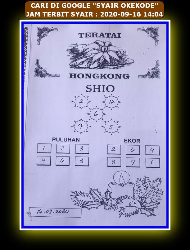 Kode syair Hongkong Rabu 16 September 2020 101