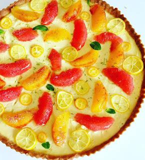 image Tarte aux agrumes et la crème amande
