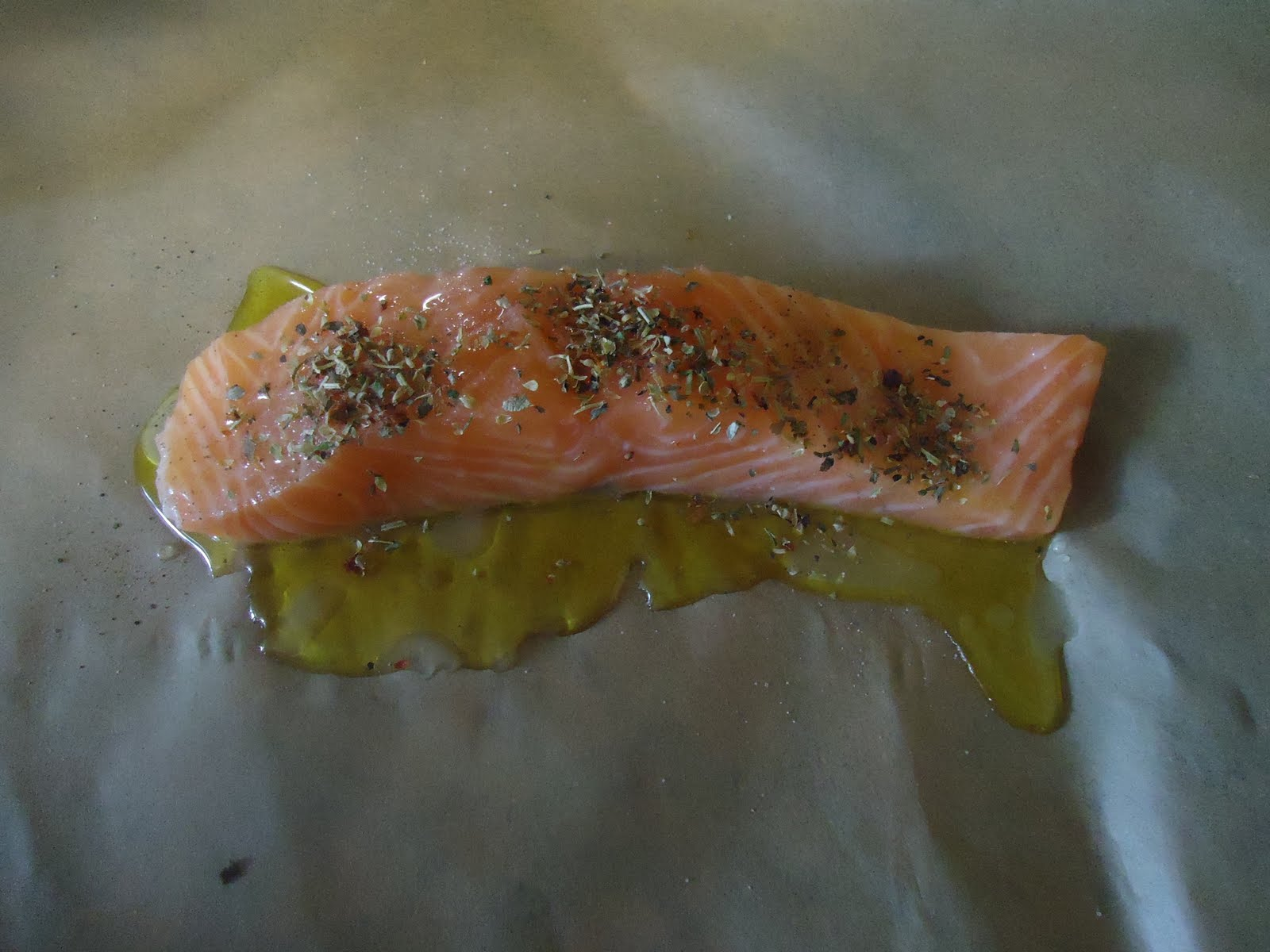 Salmon about to be cooked in the Oven