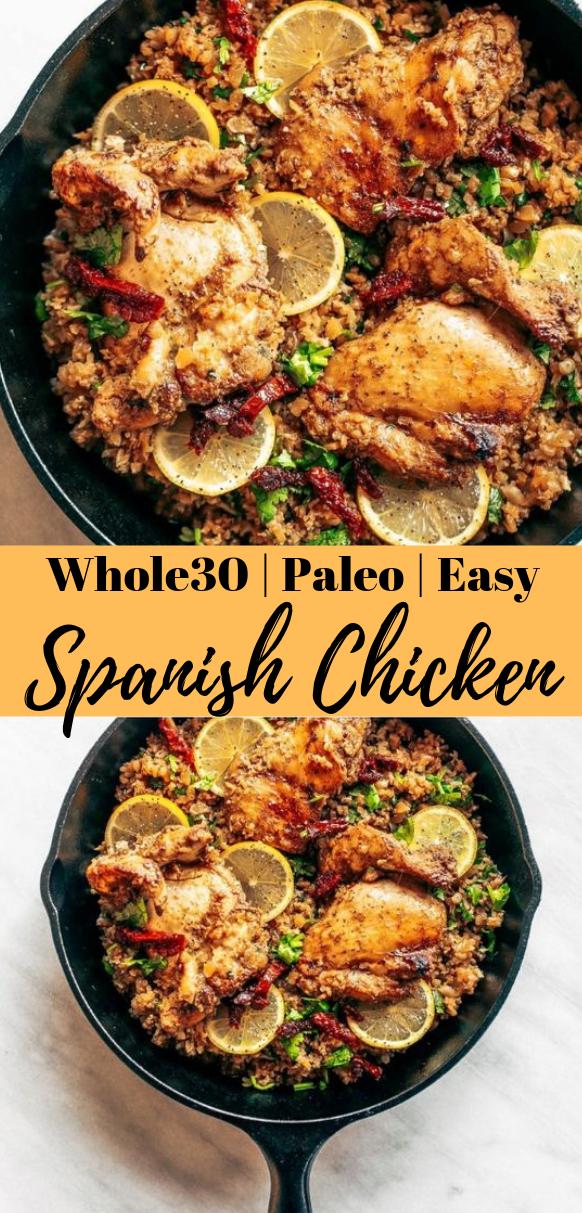 WHOLE30 SPANISH CHICKEN AND CAULIFLOWER RICE #whole30 #cauliflower #diet #healthyrecipes #paleo