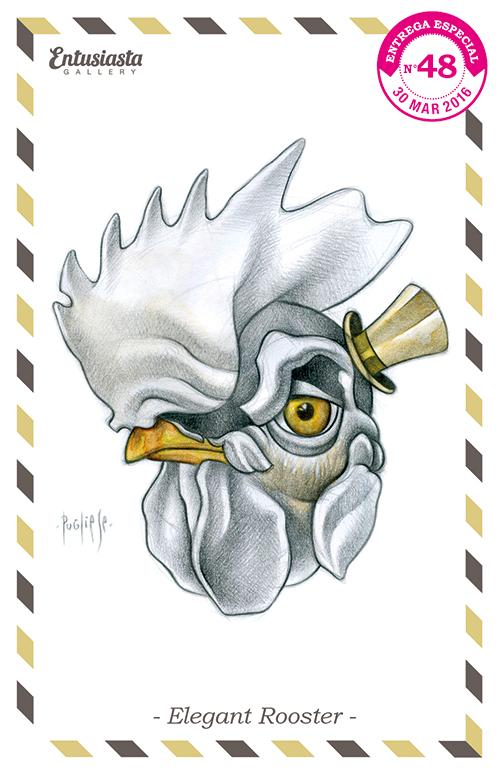 Un gallo con galera finamente dibujado por el artista David Pugliese.