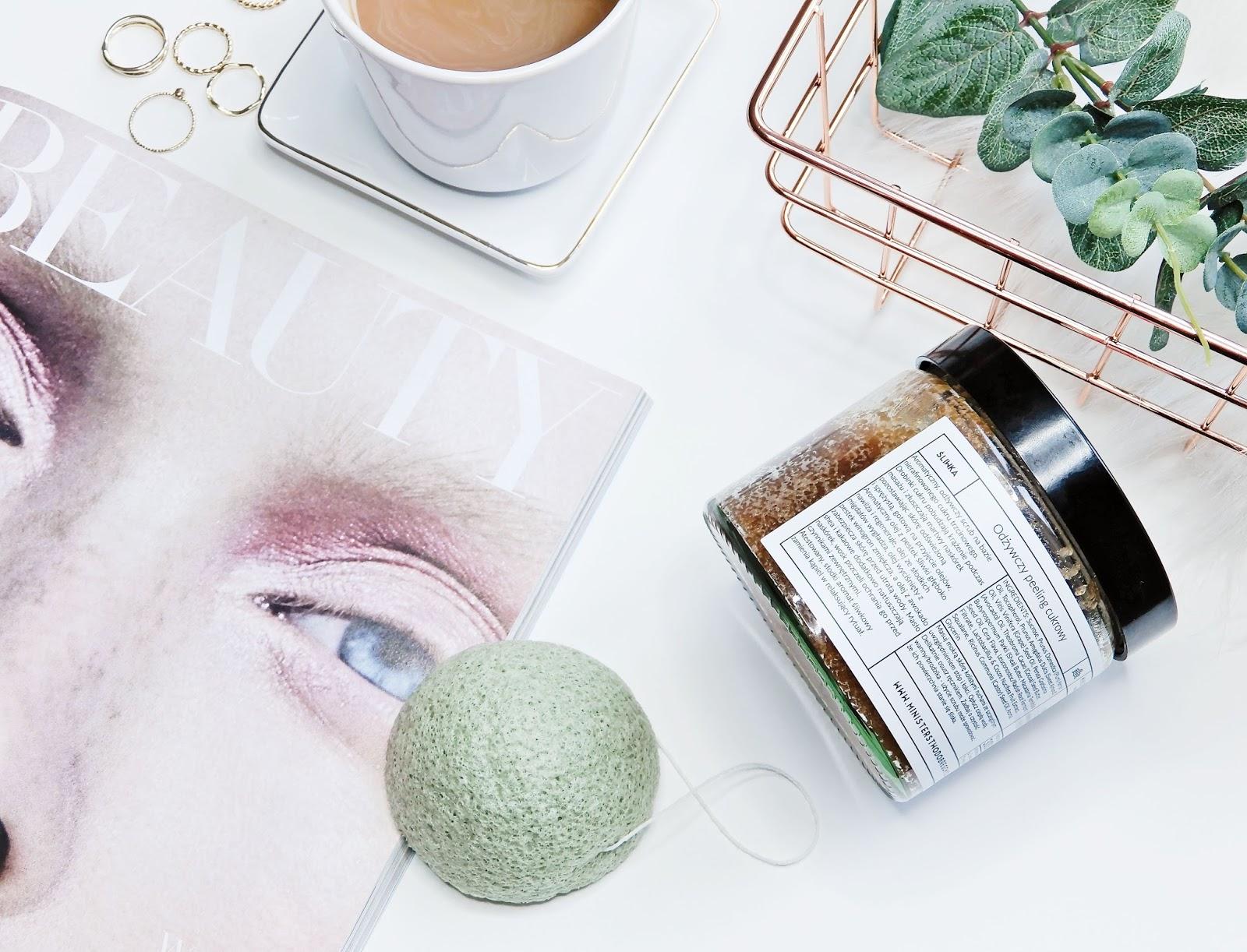 Ministerstwo Dobrego Mydła Odżywczy peeling cukrowy, Ebelin gąbka Konjac z zieloną herbatą,