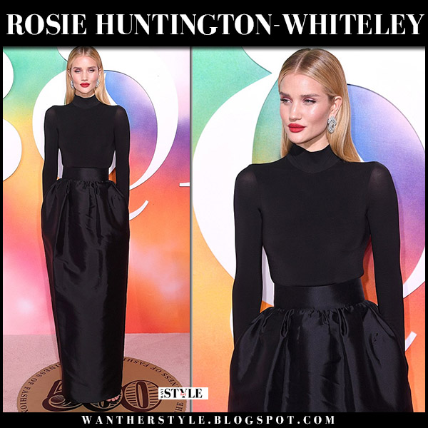 Rosie Huntington-Whiteley in black high neck top and maxi skirt the row red carpet fashion september 9