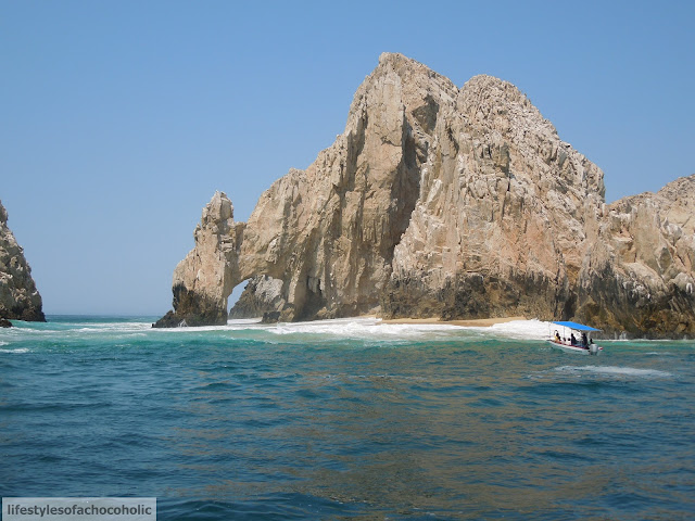 boat view of lovers cove in cabo san lucas mexico