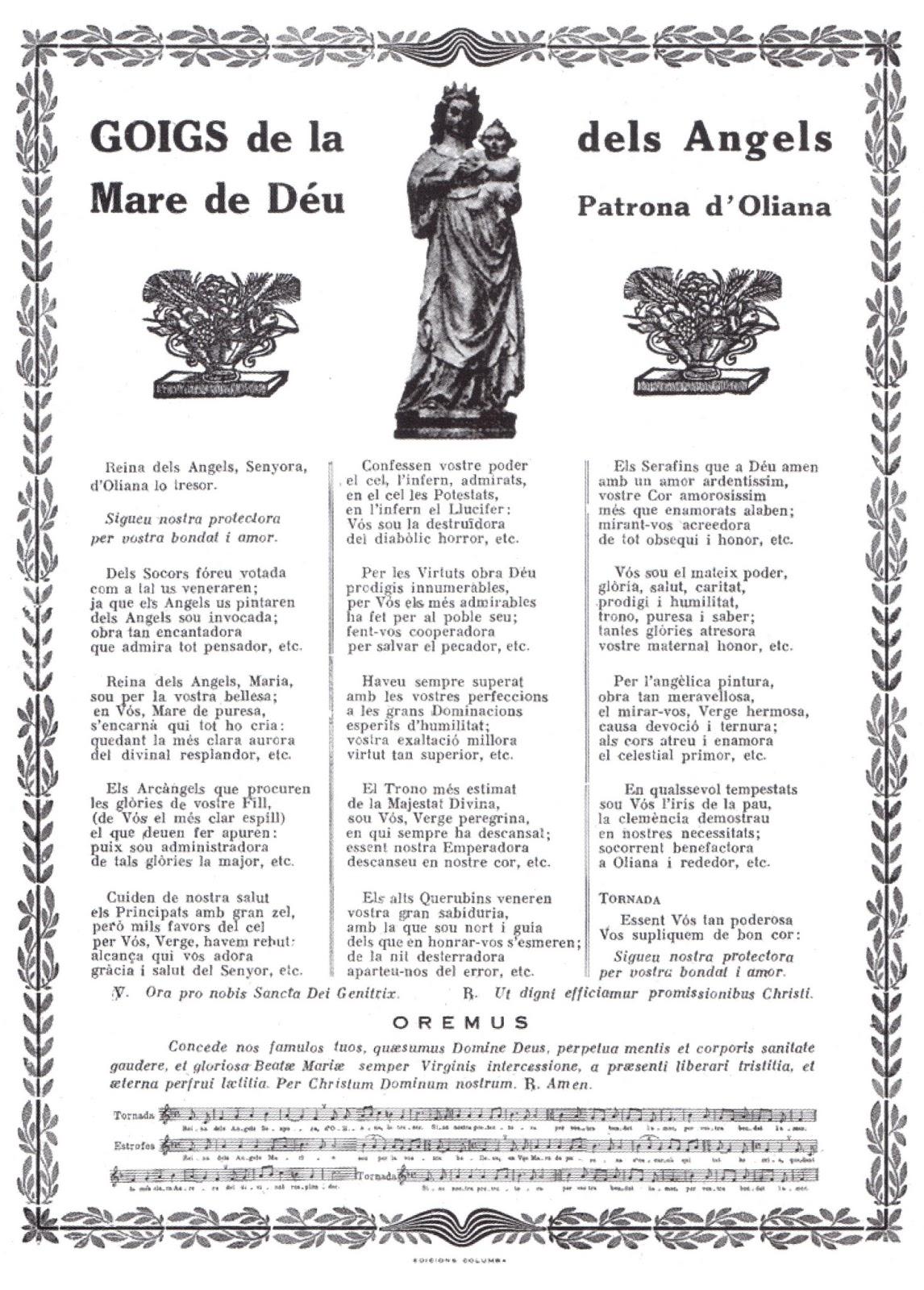 Goigs i devocions populars: Goigs a la Mare de Déu dels Àngels. Oliana (Alt U...
