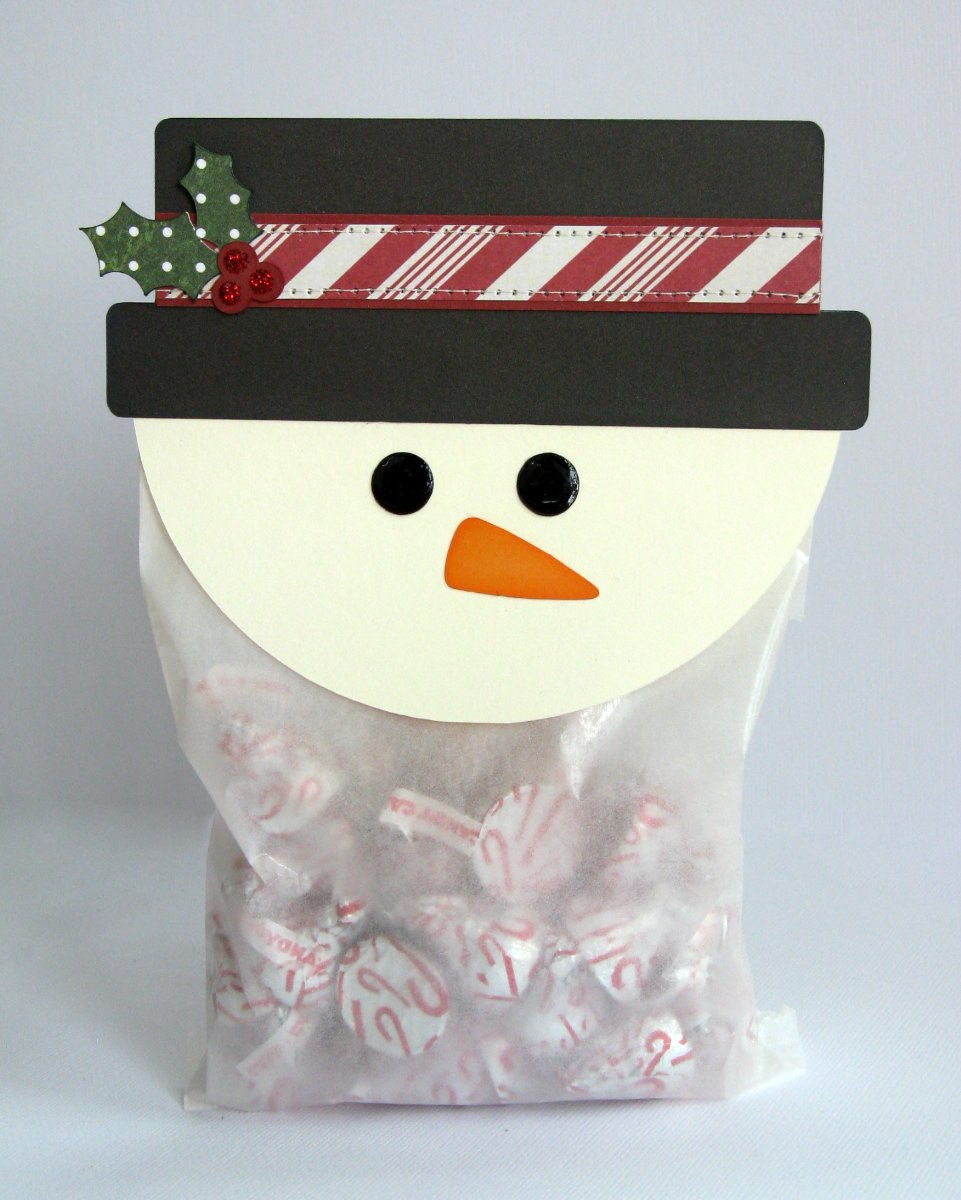 Lori Whitlock Snowman Treat Topper Gift Bag by Mendi Yoshikawa