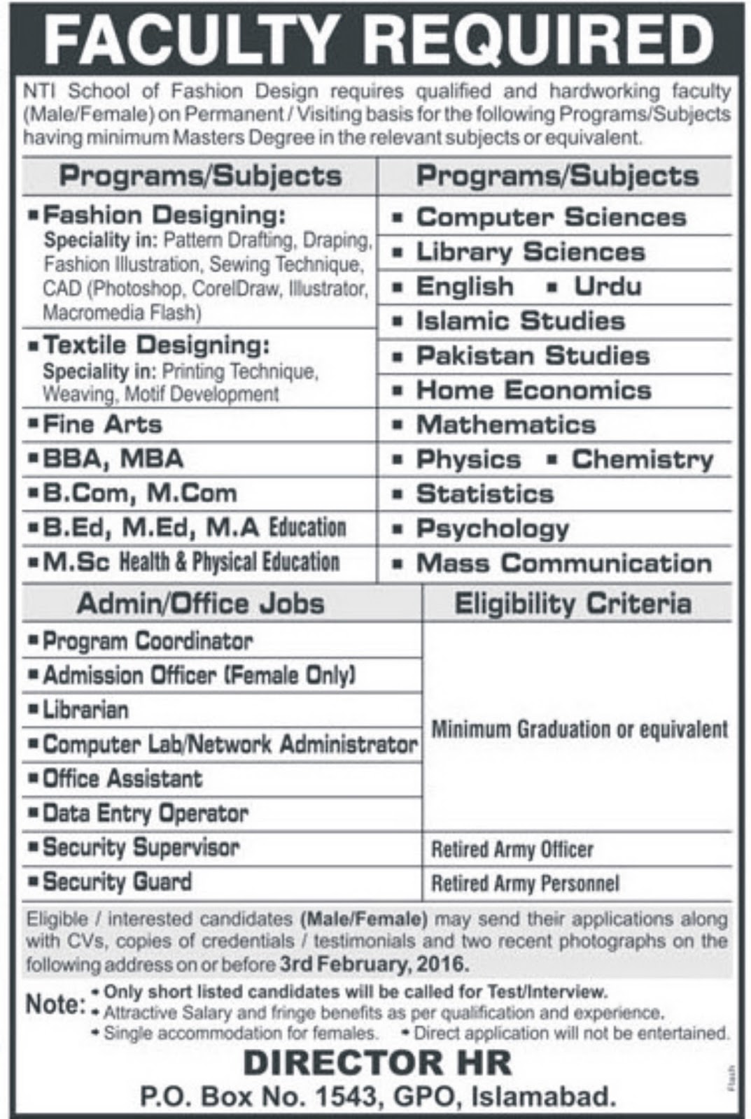 Admin Teaching Jobs At Nti School Islamabad For Science Arts Subjects Government Jobs Private Jobs In Pakistan 2018