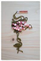 sautoir flamant rose et bronze vieilli