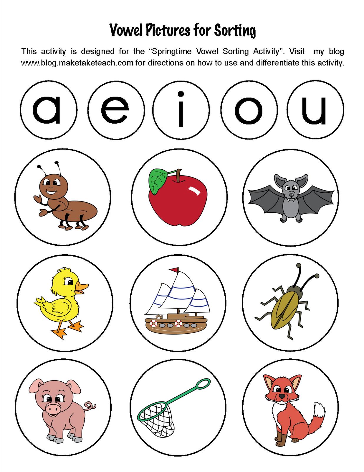 Sorting Short Vowels Classroom Freebies