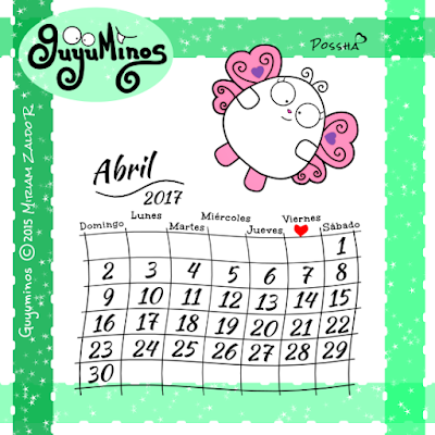 Calendario Mes Abril 2017 Guyuminos Mariposa