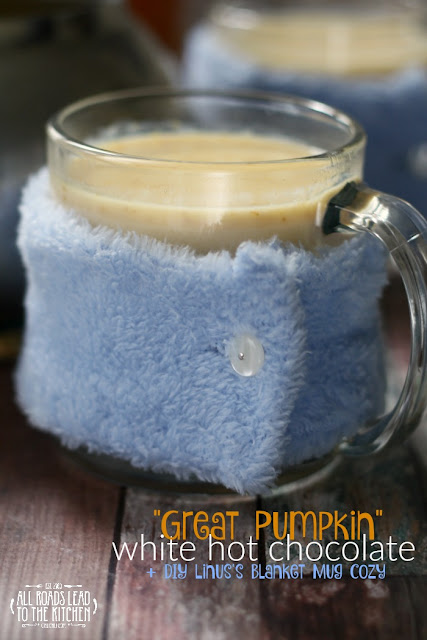 Great Pumpkin White Hot Chocolate + DIY Linus's Blanket Mug Cozy_