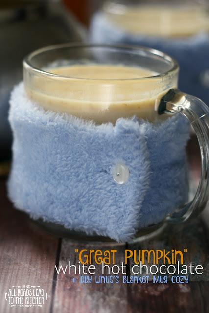 Great Pumpkin White Hot Chocolate + DIY Linus's Blanket Mug Cozy_