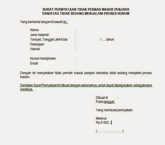 Contoh Surat Pernyataan Tidak Sedang Bekerja Pada Instansi ...