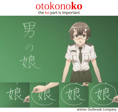 "The word otokonoko 男の娘, ""traps,"" as shown in the anime Outbreak Company, in the classroom"
