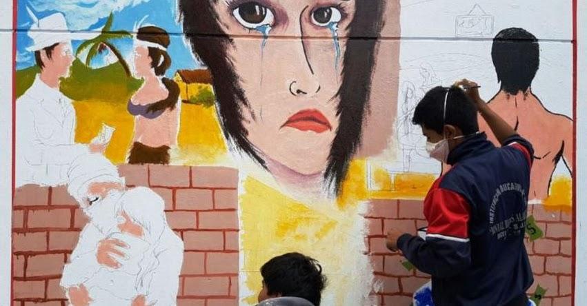 Escolares de colegios públicos de Lima pintan murales contra la trata de personas
