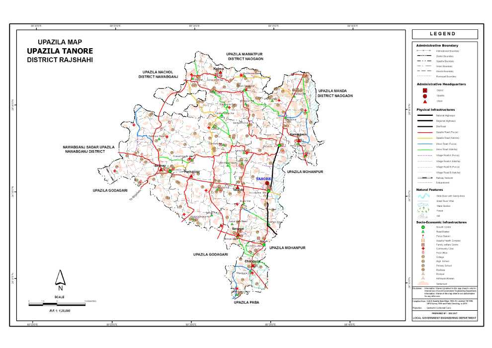Tanore Upazila Map Rajshahi District Bangladesh