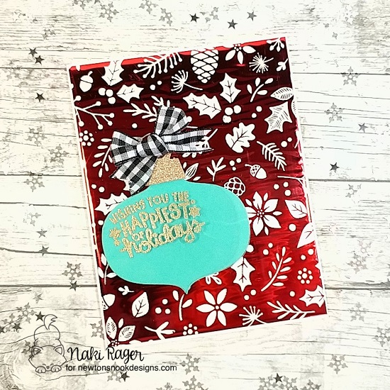 Newton's Nook Designs & Therm O Web Inspiration Week | Christmas Ornament Card by Naki Rager | Ornamental Wishe Stamp Set and Ornament Shaker Die Set by Newton's Nook Designs and foils by Therm O Web #newtonsnook #thermoweb