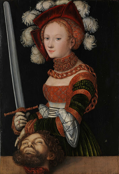 Judith with the Head of Holofernes by Lucas Cranach the Elder, Macabre Paintings, Horror Paintings, Freak Art, Freak Paintings, Horror Picture, Terror Pictures