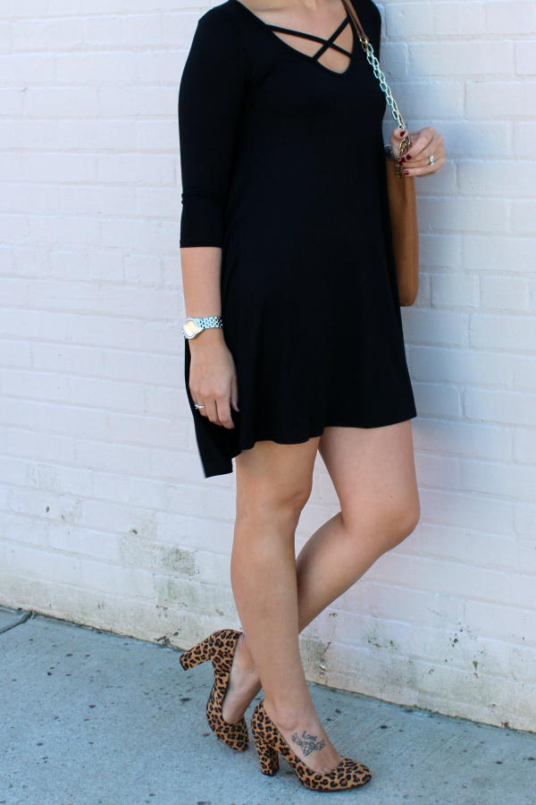 little black dress, nella boutique, shop small, leopard heels