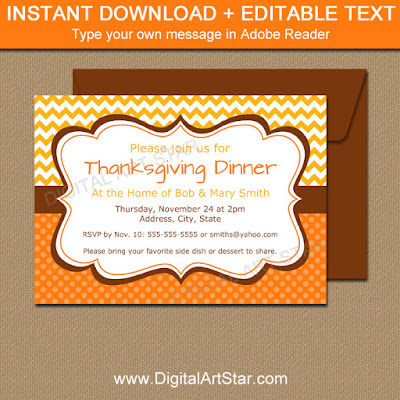 printable fall invitation in yellow and orange with brown accents
