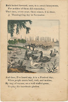 A page of verse and an illustration of geese on a pond.