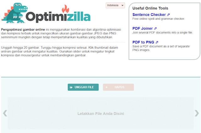 optimizilla untuk kompres gambar online