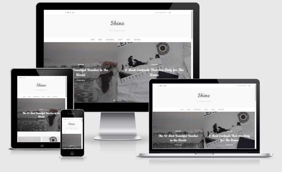 Shine responsive blogger template chuẩn SEO