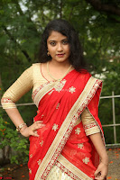 Akshara in Red Saree Golden Choli at LV Movie Makers Production No 1 Movie Opening ~  Exclusive 024.JPG