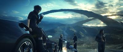 Chicos de Final Fantasy XV descansando con el coche al lado