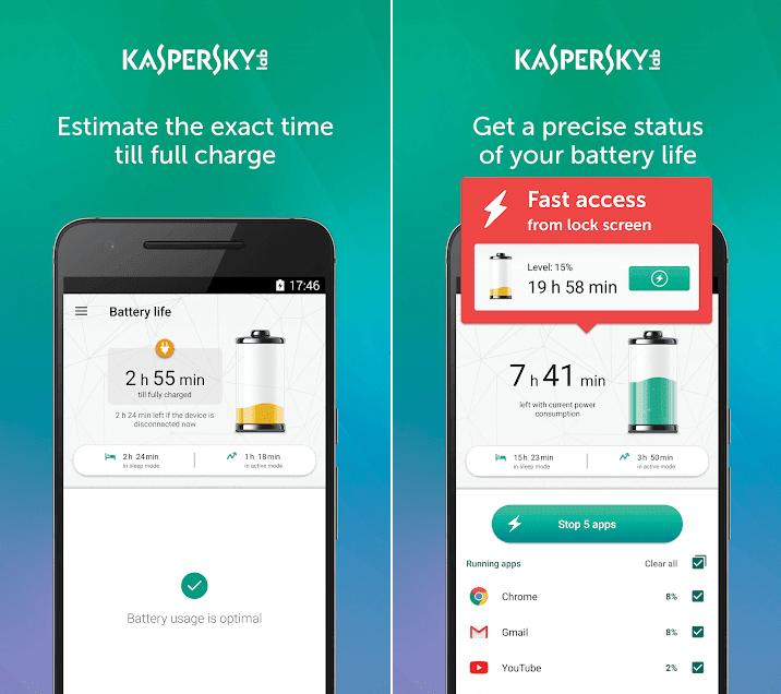 تطبيق Kaspersky Battery Life لاطالة عمر البطارية والحفاظ عليها