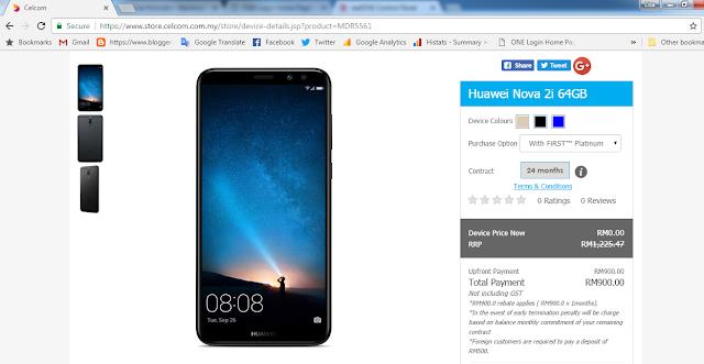 Pakej Celcom Percuma Smartphone Huawei NOVA 2i  Cerita