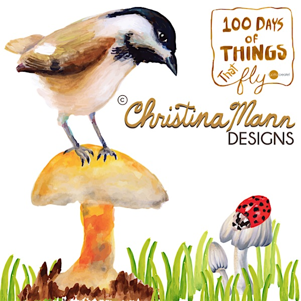 Hungry Chickadee | 100 Days of Things that Fly project by Christina Mann Designs. Follow on Instagram @igottacreate