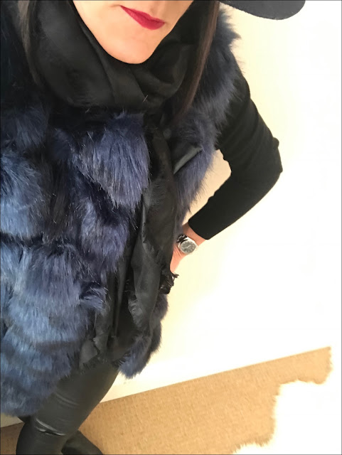 My Midlife Fashion, Navy blue faux fur gilet, felt fedora hat, louis vuitton monogram scarf, massimo dutti leather leggings, boden relaxed fit cashmere jumper, zara over the knee leather boots