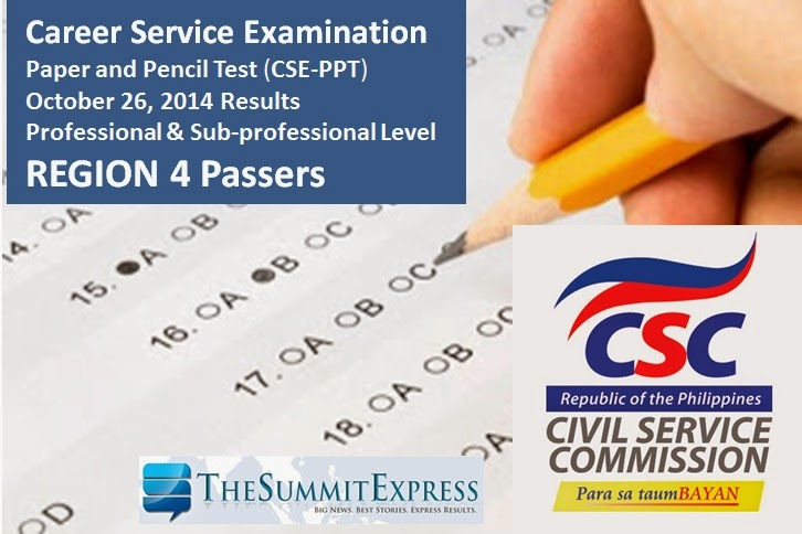 October 2014 Civil service exam (CSE-PPT) results Region 4 List of Passers