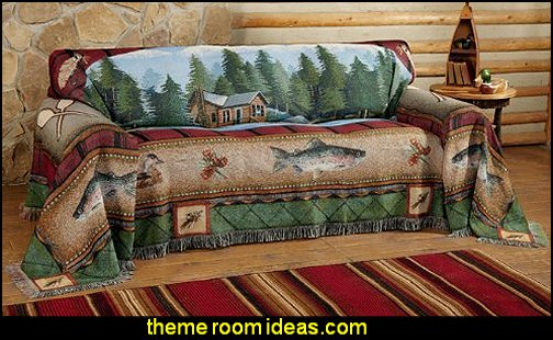 Lake Cabin Sofa Cover log cabin - rustic style decorating - Cabin decor - bear decor - camping in the northwoods style  - Antler decor - log cabin boys theme bedroom - Cabin Bedding - Rustic Bedding - rustic furniture - cedar beds - log beds - LOG CABIN DECORATING IDEAS - Swiss chalet ski lodge murals - camping room decor
