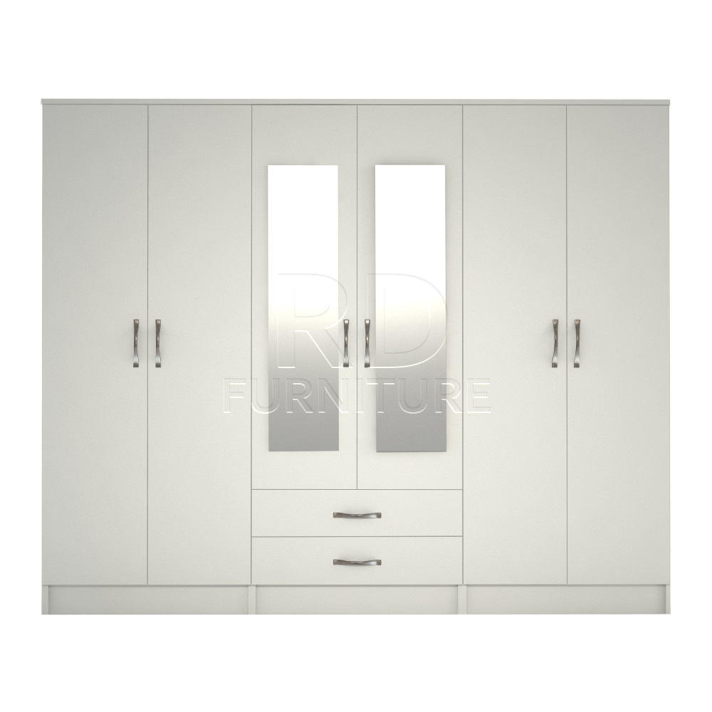 Classic 6 door 2 drawer wardrobe white finish rdfurniture for Wardrobe door finishes