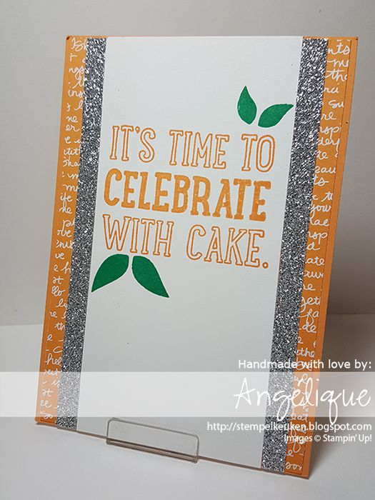 http://stempelkeuken.blogspot.com OnStage April 2016 Display Stamper de Stempelkeuken Swirly Bird, Swirly Bird bundle, Party with Cake, Peekaboo Peach, Emerald Envy, Wink Of Stella, Silver Glimmer Paper