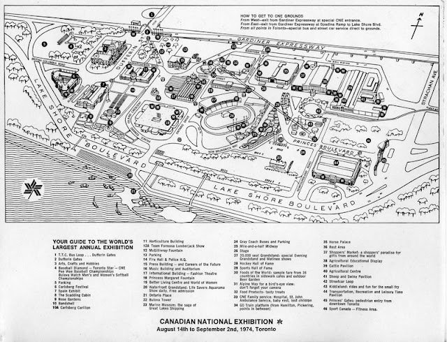 Map of the Canadian National Exhibition Grounds. 1974